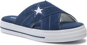 Granatowe klapki Converse w stylu casual z płaską podeszwą