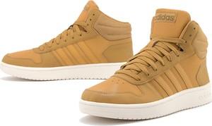Brązowe buty sportowe Adidas sznurowane ze skóry