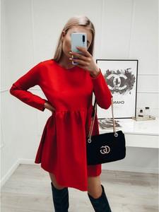 Czerwona sukienka magmac.pl z długim rękawem