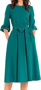 Sukienka Cikelly midi z okrągłym dekoltem z długim rękawem