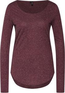 Czerwona bluzka Vero Moda z dżerseju z okrągłym dekoltem z długim rękawem