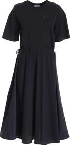 Czarna sukienka Moncler z krótkim rękawem mini z bawełny