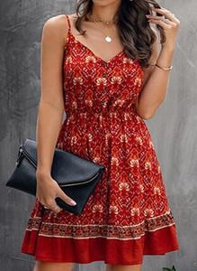 Czerwona sukienka Arilook mini na ramiączkach z dekoltem w kształcie litery v