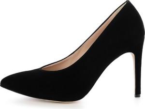 Prima moda czarne czółenka ze skóry zamszowej favarotta