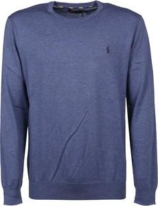 Niebieski sweter POLO RALPH LAUREN z wełny z okrągłym dekoltem