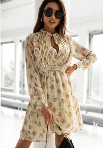 Sukienka Latika z okrągłym dekoltem z długim rękawem