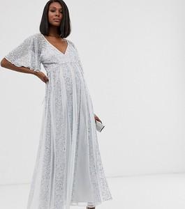Srebrna sukienka Asos z długim rękawem