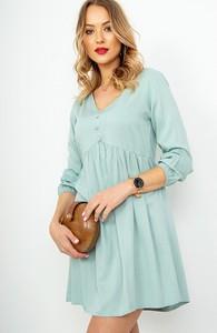 Sukienka ZOiO.pl z dekoltem w kształcie litery v z długim rękawem w stylu casual