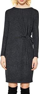 Czarna sukienka amazon.de z okrągłym dekoltem z długim rękawem