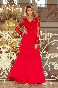 Czerwona sukienka NUMOCO z dekoltem w kształcie litery v maxi