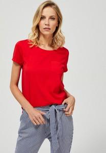 Czerwony t-shirt Moodo z bawełny w stylu casual