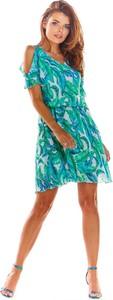 Turkusowa sukienka Awama mini z krótkim rękawem z dekoltem w kształcie litery v
