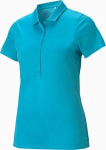 Niebieski t-shirt Puma w sportowym stylu z kołnierzykiem z krótkim rękawem
