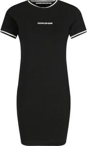 Czarna sukienka Calvin Klein mini z krótkim rękawem