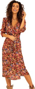 Różowa sukienka Angell z długim rękawem z dekoltem w kształcie litery v