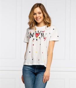 T-shirt Desigual w młodzieżowym stylu z krótkim rękawem z okrągłym dekoltem