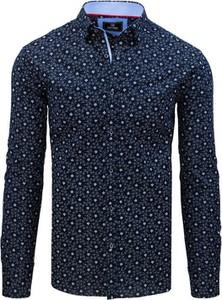 Granatowa koszula Dstreet z długim rękawem z bawełny
