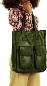 Zielona torebka Merg w wakacyjnym stylu ze skóry duża