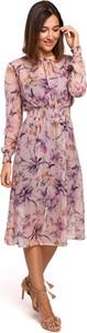 Sukienka Style midi z tkaniny z długim rękawem
