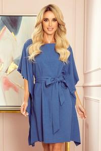 Niebieska sukienka NUMOCO z okrągłym dekoltem z lnu
