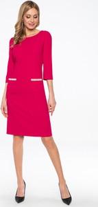 Czerwona sukienka Lavard z okrągłym dekoltem