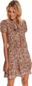 Brązowa sukienka Top Secret z krótkim rękawem w stylu casual koszulowa