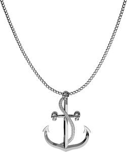 GIORRE SREBRNY NASZYJNIK KOTWICA 925 : Długość (cm) - 60, Kolor pokrycia srebra - Pokrycie Czarnym Rodem