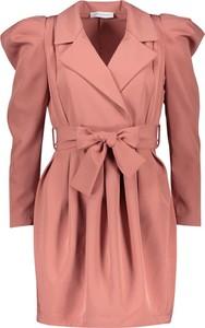 Różowa sukienka Garden Party mini z długim rękawem