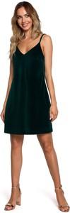 Zielona sukienka MOE mini z bawełny