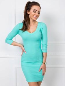 Niebieska sukienka Sheandher.pl w stylu casual z długim rękawem