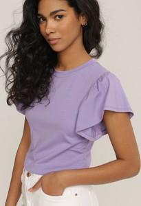 Fioletowa bluzka Renee z krótkim rękawem z okrągłym dekoltem