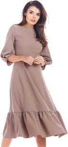 Brązowa sukienka Awama z długim rękawem