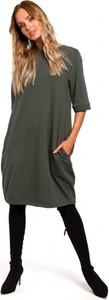 Sukienka MOE z okrągłym dekoltem z dresówki
