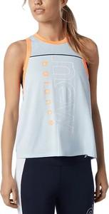 Niebieski top New Balance w sportowym stylu z okrągłym dekoltem