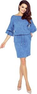 Sukienka Bergamo w stylu casual z długim rękawem z okrągłym dekoltem