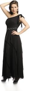 Sukienka Fokus z asymetrycznym dekoltem rozkloszowana maxi