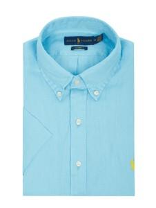 Niebieska koszula POLO RALPH LAUREN z lnu z kołnierzykiem button down z krótkim rękawem