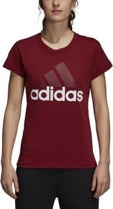 Czerwony t-shirt Adidas z dzianiny
