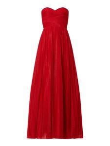 Czerwona sukienka Luxuar z szyfonu z dekoltem w kształcie litery v gorsetowa