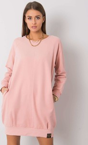 Różowa sukienka Sheandher.pl z bawełny w stylu casual z okrągłym dekoltem