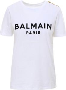 T-shirt Balmain z okrągłym dekoltem w młodzieżowym stylu z krótkim rękawem