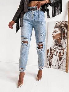 Niebieskie jeansy Infinityfashion.pl w stylu casual z bawełny
