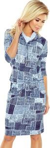 Sukienka NUMOCO z długim rękawem midi z jeansu