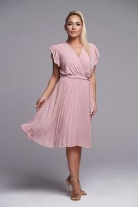 Różowa sukienka Ella Boutique z dekoltem w kształcie litery v z krótkim rękawem midi