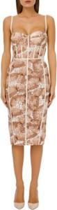 Brązowa sukienka Elisabetta Franchi na ramiączkach dopasowana