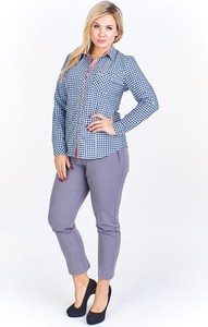 Niebieska koszula Fokus z bawełny w stylu casual z długim rękawem