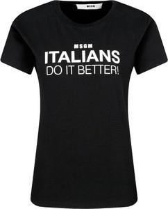 Czarny t-shirt MSGM z krótkim rękawem z okrągłym dekoltem