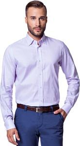 Różowa koszula LANCERTO z bawełny z kołnierzykiem button down