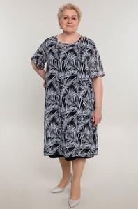 Sukienka modneduzerozmiary.pl z szyfonu z krótkim rękawem w stylu casual
