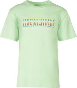 Zielony t-shirt Multu w młodzieżowym stylu z krótkim rękawem z bawełny
